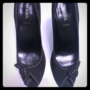 Black Suede open toe PRADA pumps!